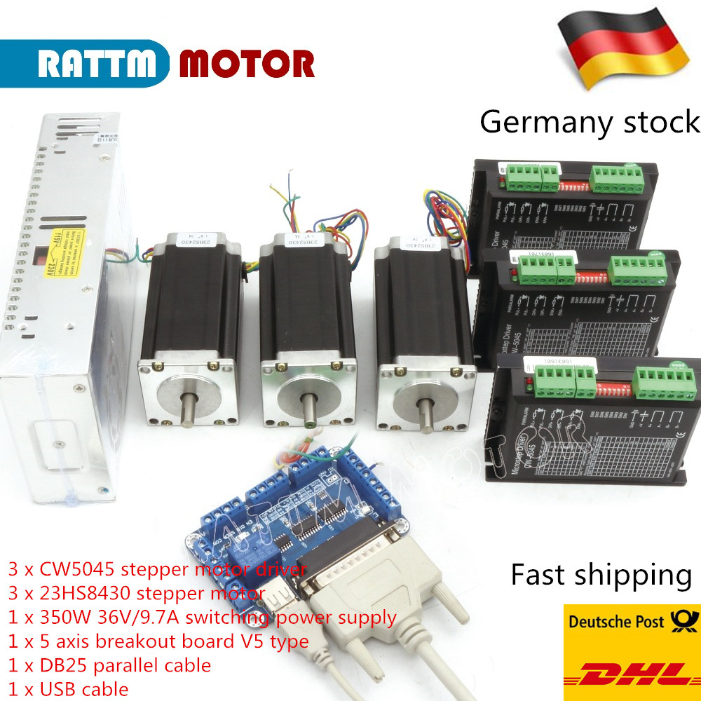 【German Ship/& Top Rated】4Axis Nema23 stepper motor 425oz-in,4.5A Wantai CNC Mill