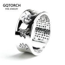 แหวนOM Mani Padme Humแท้ 100% แท้ 925 แหวนเงินสำหรับสตรีและผู้ชายเงินVINTAGEเครื่องประดับทำด้วยมือ