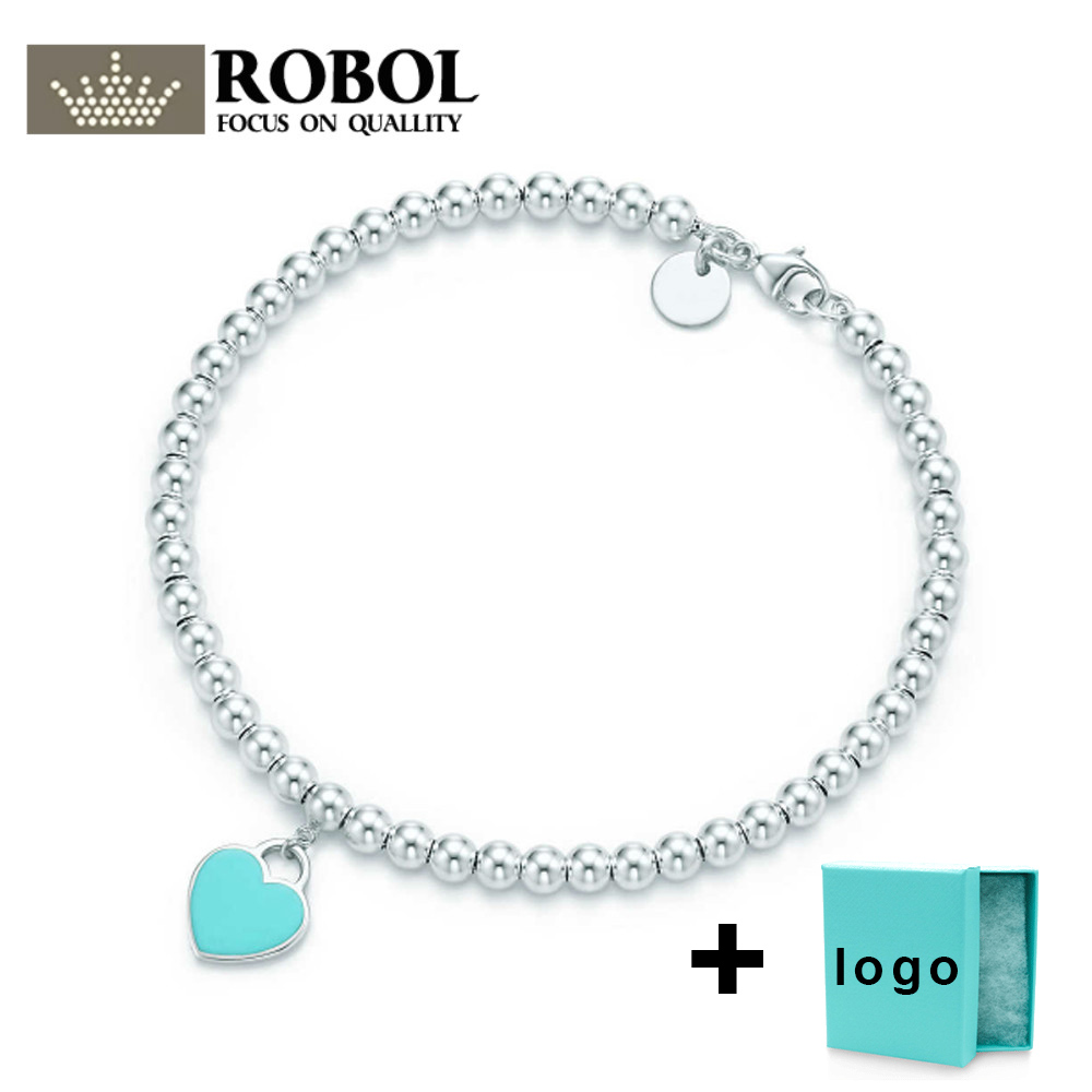 SL TFB Rllen Original 925 Sterling Silver Classic Blue Love Bead Bracelet, Suitable For Ladies To Attend The Party Free Delivery