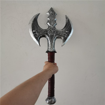 Cosplay 1:1 Double-edged Axe Prop Halloween Game Movie Anime Weapons Role Playing 65CM PU Model Festival Gift