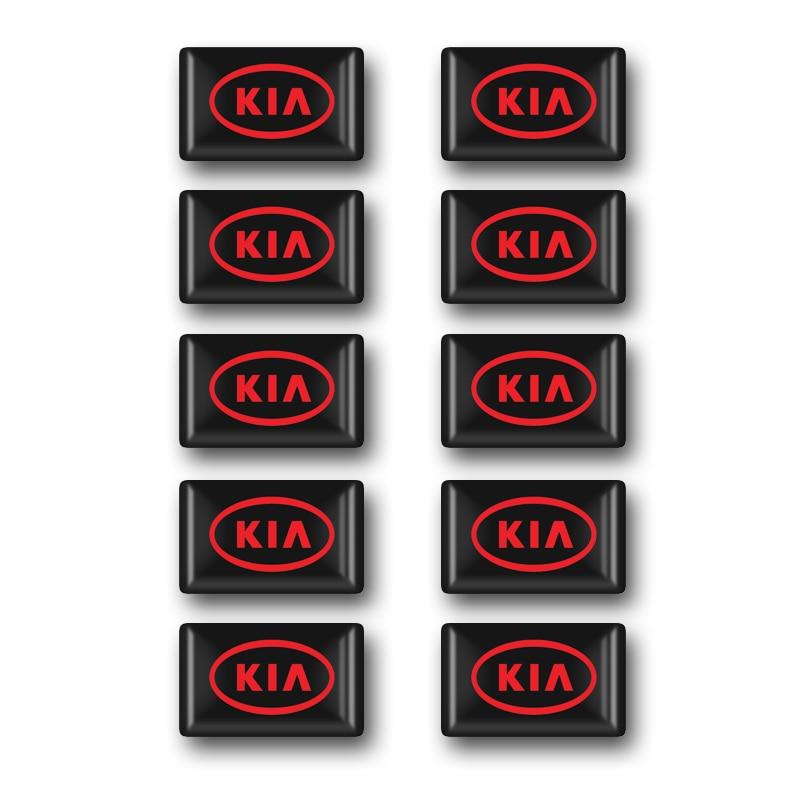 10pcs/lot Car Styling KIA Epoxy Small Sticker Decorative Badge Hub Caps Steering Wheel For KIA Sportage Ceed Sorento Accessories