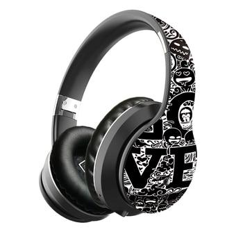 Wireless Bluetooth 5.0 Headphones Over Ear Headest Graffiti Design Foldable Headphone with Mic Hi-Fi Stereo For phone pc laptop 1