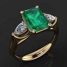 14k Gold Jewelry Green Emerald Ring for Women Bague Diamant Bizuteria Anillos De Pure Emerald Gemstone 14k Gold Ring for Females chic rhinestone faux emerald round ring for women