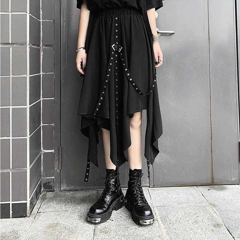 Punk Grunge Asymmetrical Black Ribbon Skirt 2