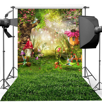 Fairy Forest Children Birthday Photography Backdrops Elves Mushroom House Old Tree Fantasy Jungle Backgrounds for Photo Studio