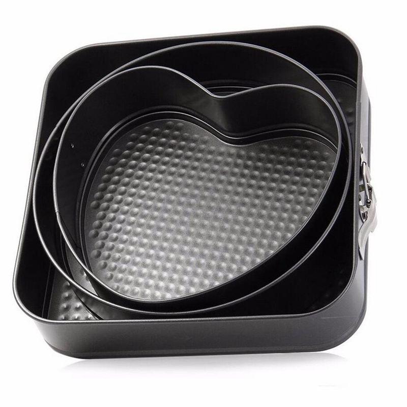 Новинка 3 шт./набор антипригарная разъемная форма для торта сковорода металлическая форма для выпечки торта со съемным дном круглая форма для выпечки в форме сердца квадратная форма сковорода