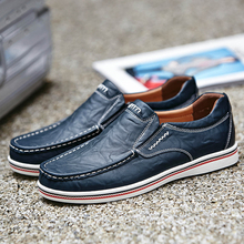 katesen New Men Shoes Genuine leather Comfortable Casual Footwear Chaussures Flats For Slip On Lazy Size 38-47