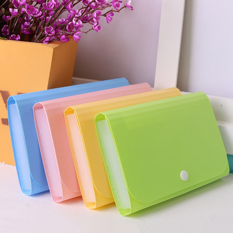 Candy Color Large Capacity A6 Plastic File Folder Small Document Bags Expanding Wallet Folders Office School Supplies