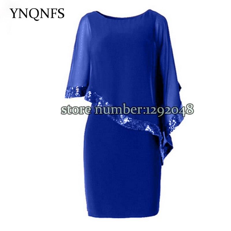 YNQNFS Elegant Chiffon Blue Bride's Mother Dress Shawl Sleeve Knee Length Wedding Guest Dress Custom Size 2020