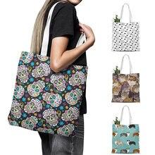 Модная женская Холщовая Сумка милая сумка для покупок с животными