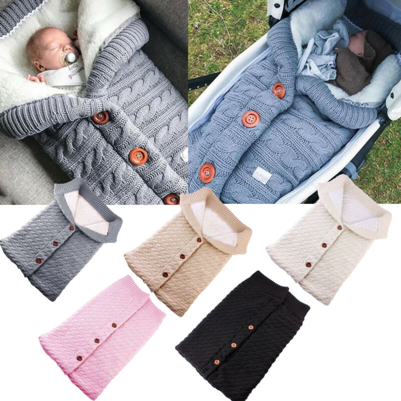 Newborn Baby Winter Warm Fluffy Sleeping Bag Infant Button Knit Outdoor Swaddle Cart Stroller Wrap Toddler Blanket Sleeping Bags
