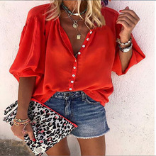 Solid Color Long-sleeved V-neck Button Ladies Shirt Summer Women's Blouse 2020 Explosion Models New Women S Plus Size Dark Blue