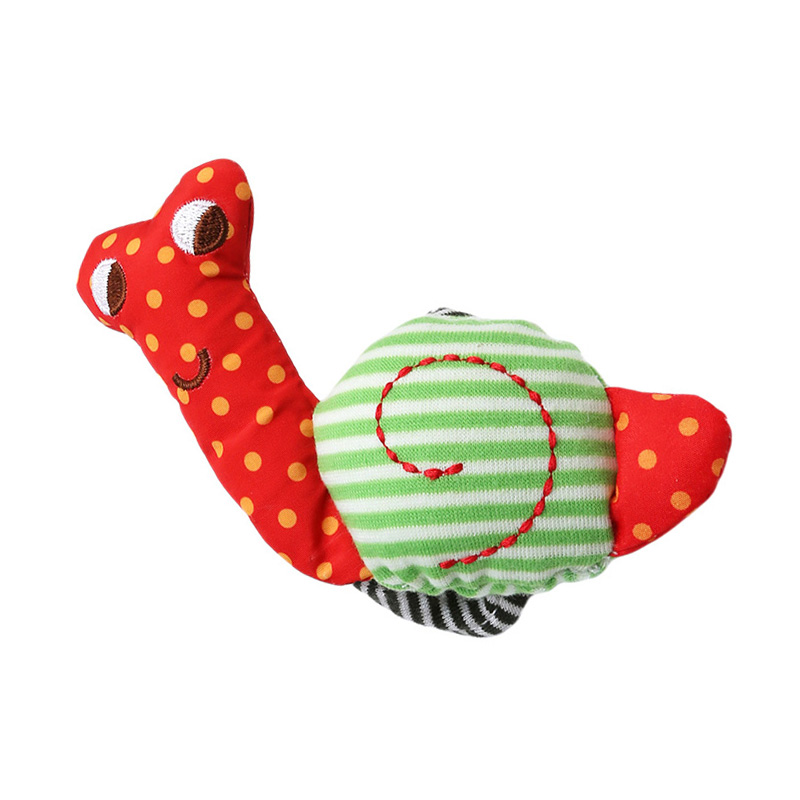 Cute Newborn Baby Rattle Toy  Soft Infant Plush Hand Bells Kids Educational  Development Toys Cartoon Snail Cotton Wrist Strap