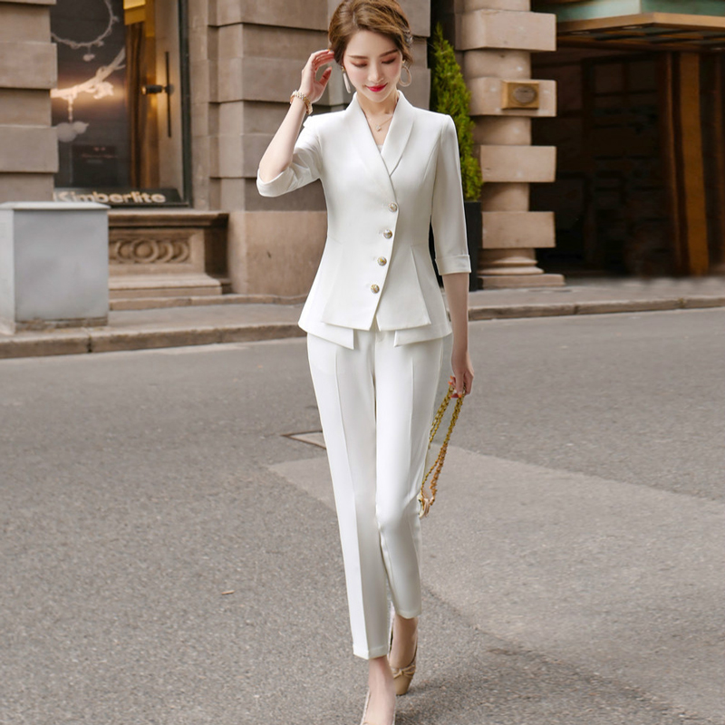High Quality Casual Women's Suit Pants Two Piece Set 2020 New Summer Elegant Ladies White Blazer Jacket Business Attire