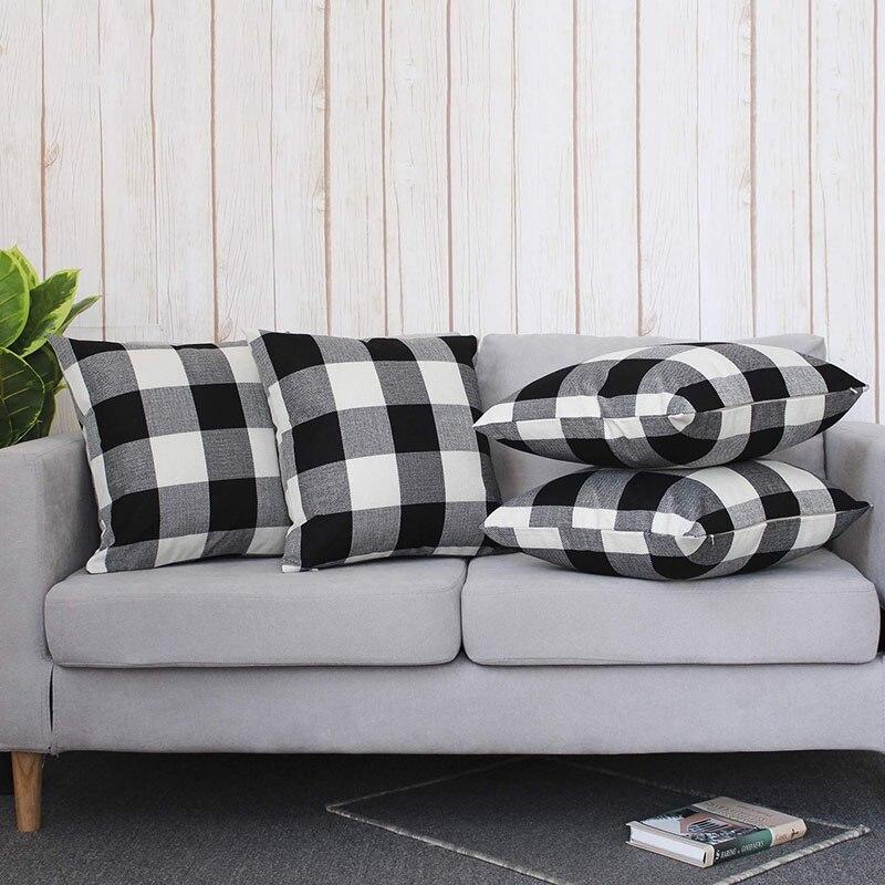 Decorations Home Decor Bed Sofa Pillow Case Cushion Cover Classic Retro Plaid 45 x 45 Cm  Black and White Pillow Case     - title=