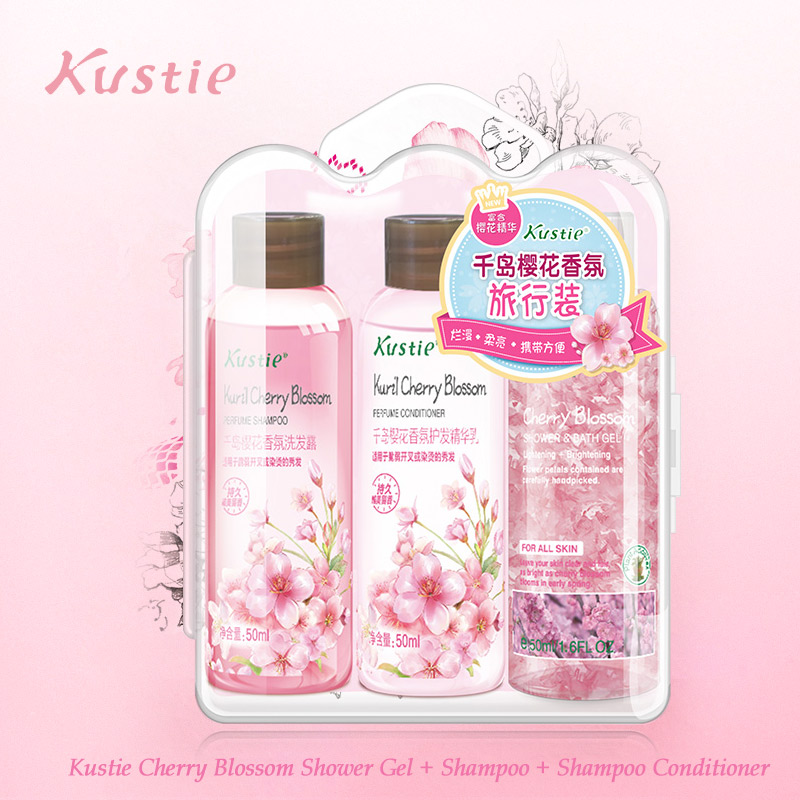 Kustie Cherry Blossom Bath Set Shower Gel 50ml + Shampoo 50ml + Conditioner 50ml Flower Essence Cleansing Balancing Travel Set