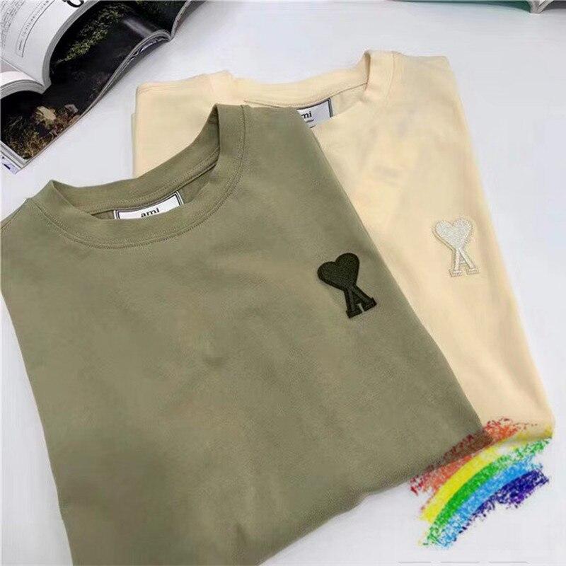 1:1 Real Tag AMI Alexandre Mattiussi T Shirt Men Women Top Version Small Logo T-shirts Mens AMI Tops Tee