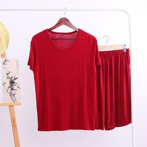 Image 5 - Conjuntos de pijama de Modal de verano para hombre, camiseta de manga corta, pantalones cortos, conjunto informal de 2 piezas con cuello en V, ropa de casa de Color sólido