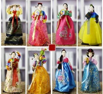 Tradicional coreano de la muñeca de resina de 30CM exquisitos Hanbok muñecas para la decoración de la casa de Corea muñeca folk estatuilla muñecas arte artesanía ZL234
