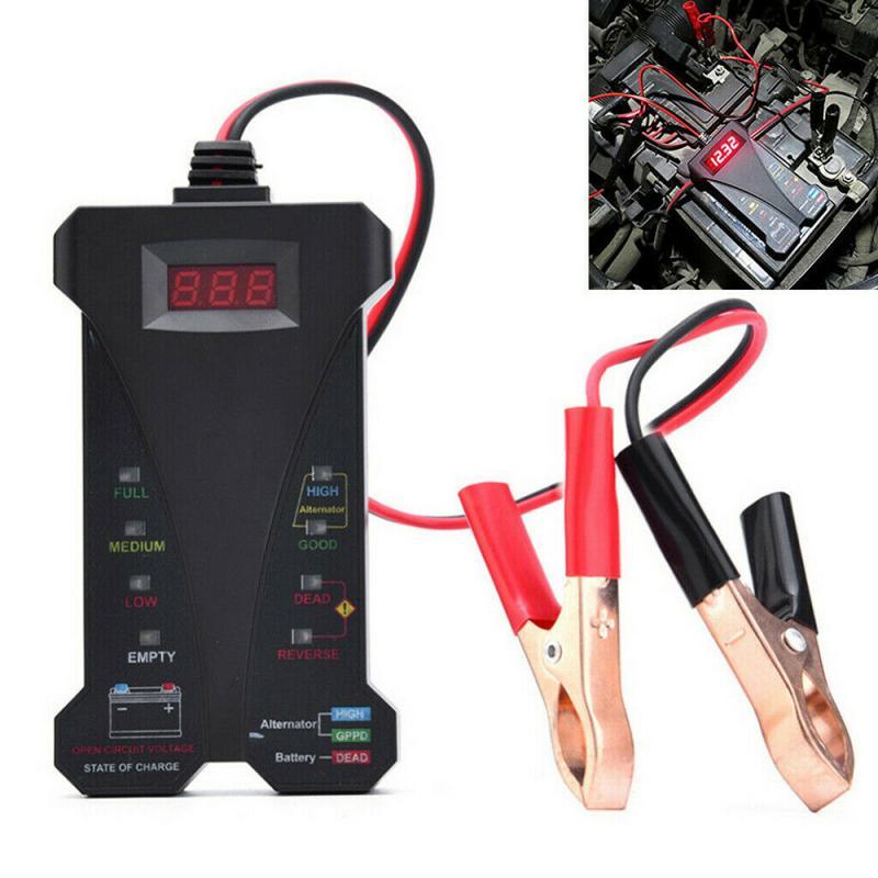 12V Car Battery Tester 8 LED Light Digital Alternator Tester Auto Load Analyzer Auto Car Battery Diagnostic Tool Car Accessories