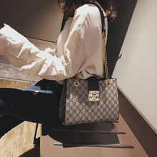 Новинка, модная Корейская версия, простая и универсальная сумка на цепочке с замком, сумка через плечо, женская маленькая квадратная сумка