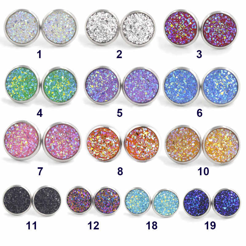 12mm Round Resin Druzy Drusy Stud Earrings Female Earstud Jewelry Gift Gold/Silver Earrings Glitter High Quality