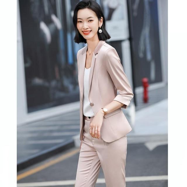 2021 Summer Professional Women Pants Suit Elegant Two Piece Fashionable Style Shawl Collar Office Lady Blazer Set Plus Size 4xl 2