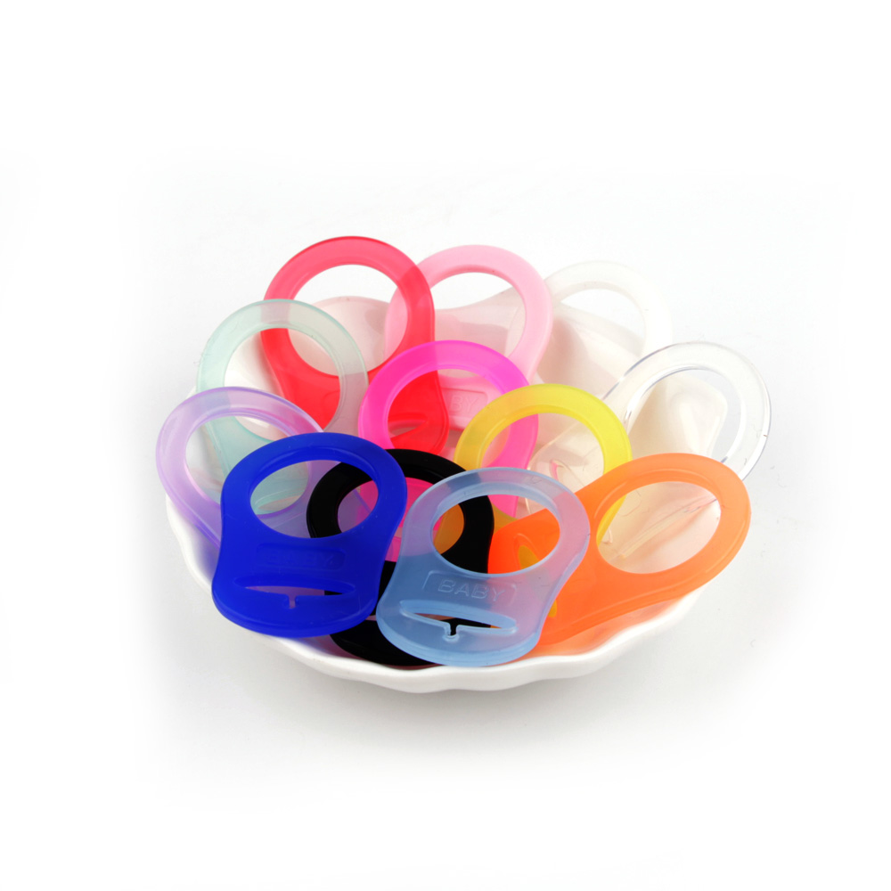 30Pcs  Multi Colors Silicone Button Baby Dummy Pacifier Holder Clip Adapter For MAM Rings