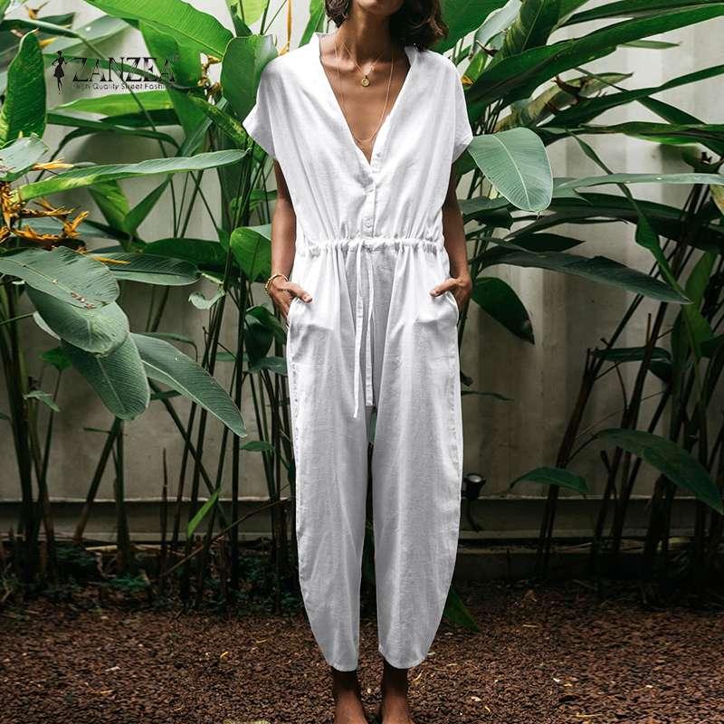 ZANZEA 2020 Fashion Button Overalls Women's Summer Jumpsuits Short Sleeve Drawstring Rompers Female High Waist Pants Oversized 7