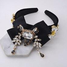 New Baroque Bowknot Crystal Hairband crown women walk show tiaras Headband luxury wild hair band Wedding Hair Accessories