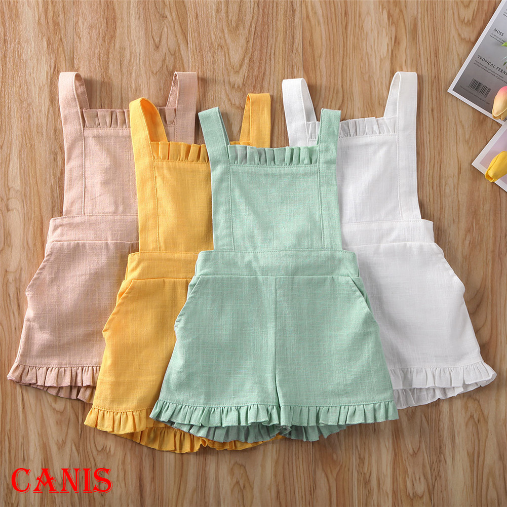 2020 Toddler Baby Girls 6M-4T Kids Summer Romper Solid One-Pieces Sleeveless Casual Jumpsuit 5 Colors