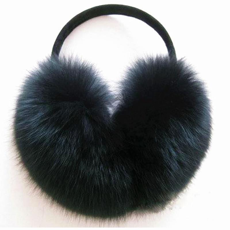 Earmuffs Winter Natural Leather Headphones Warm Winter Super Super Leather Fur Classic Fox Fur Fur Bags Whole Skin Fox Fur