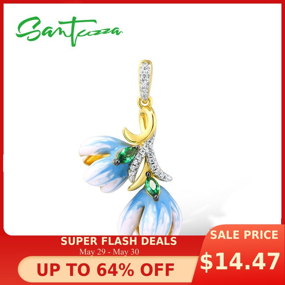 SANTUZZA Silver Pendants For Women Authentic 925 Sterling Silver Gold Color Delicate Orchid Flower Fine Jewelry Handmade Enamel