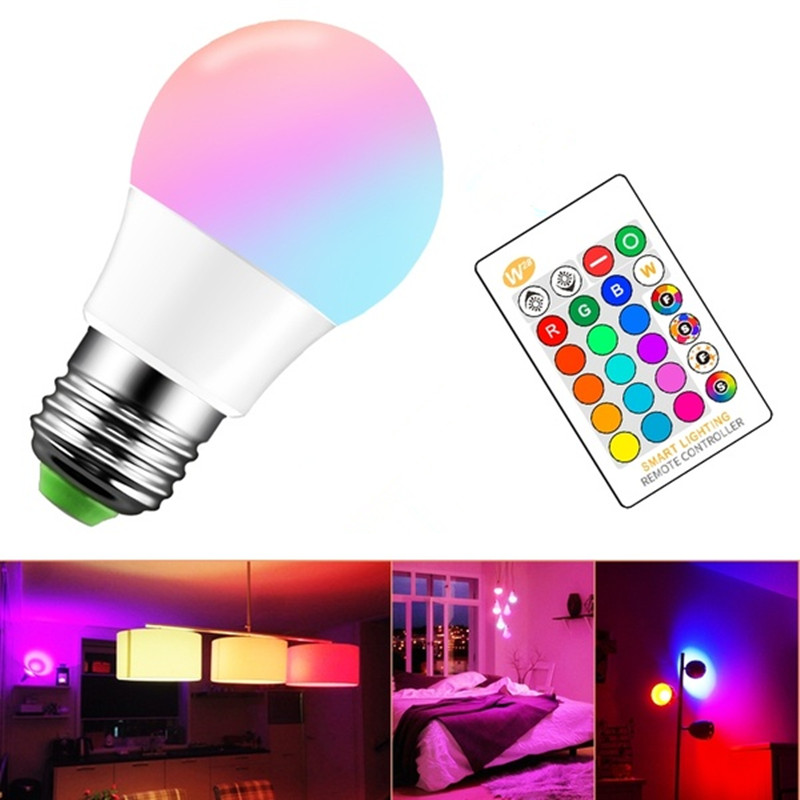 5W/10W/15W Dimmable Smart LED Light Bulb E27 High Power 220V RGB Led Lamp Night Light Remote Control LED RGB Spot Blubs