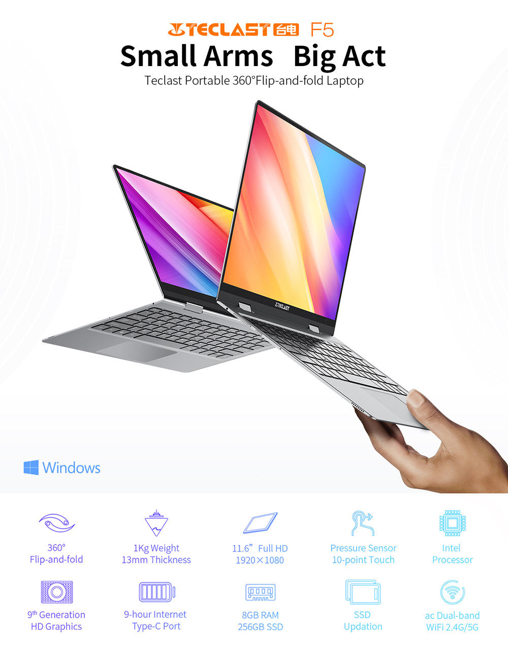 Teclast F5 11.6 inch Touch Screen Laptop 8GB DDR4 256GB SSD Windows 10 Notebook Intel N4100 1920x1080 IPS 360° Computer Type-C