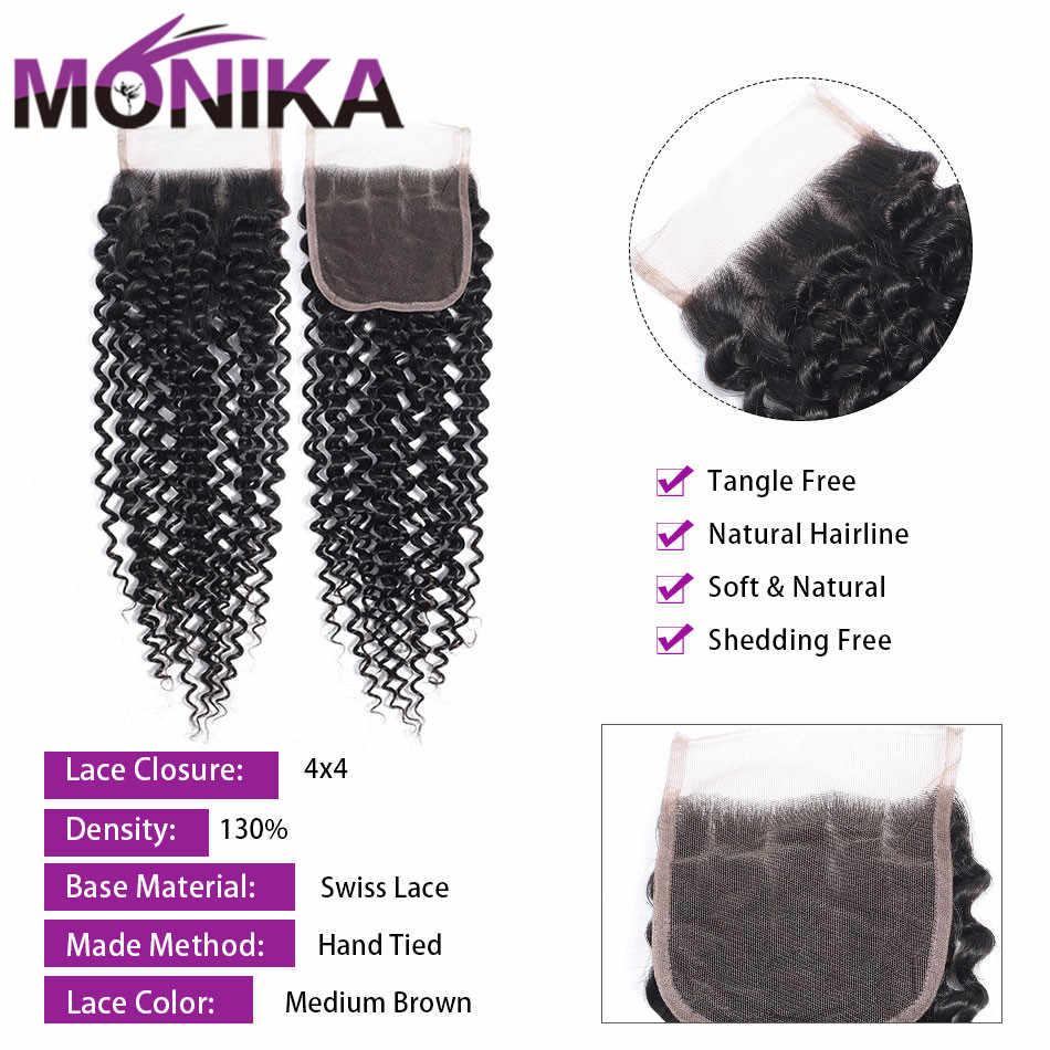 Monika Kinky Krullend 3 4 Bundels Met Sluiting Maleisische Haar Met Sluiting Non-Remy Human Hair Weave Met Kant sluiting Met Bundels