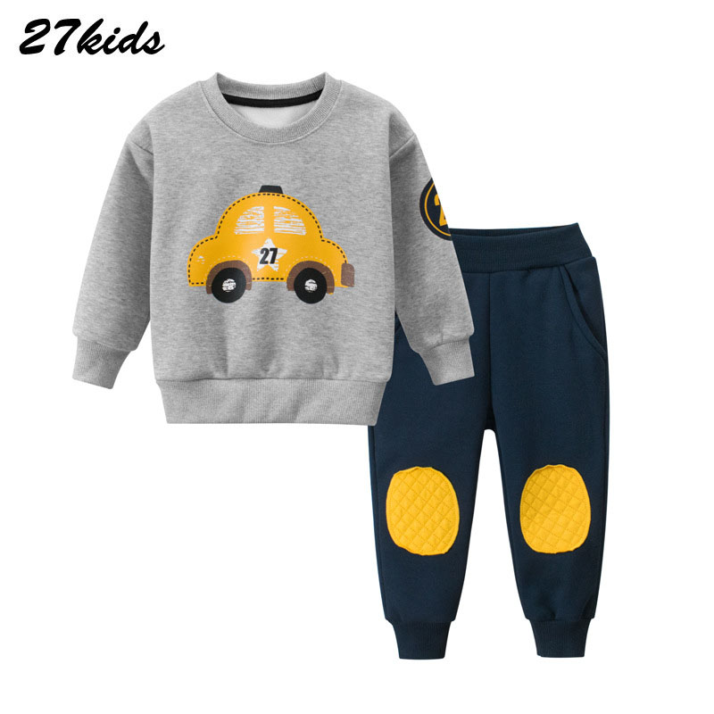 Cartoon Car Pattern Children Clothing Winter Toddler Boys Clothes Kids Clothes Suit Christmas Costume For Boy Clothing Set 1