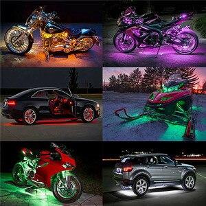 Image 2 - 6 RGB 36 LED Smart Brake Lights Motorcycle Car Atmosphere Light with Wireless Remote Control Moto Decorative Strip Lamp Kit