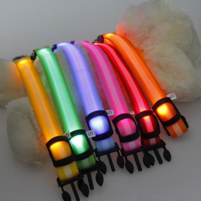 2.5 Cm Stripes Fiber LED Luminous Pet Collar Dog Collar 6-Color 3 PCs Size Supplies