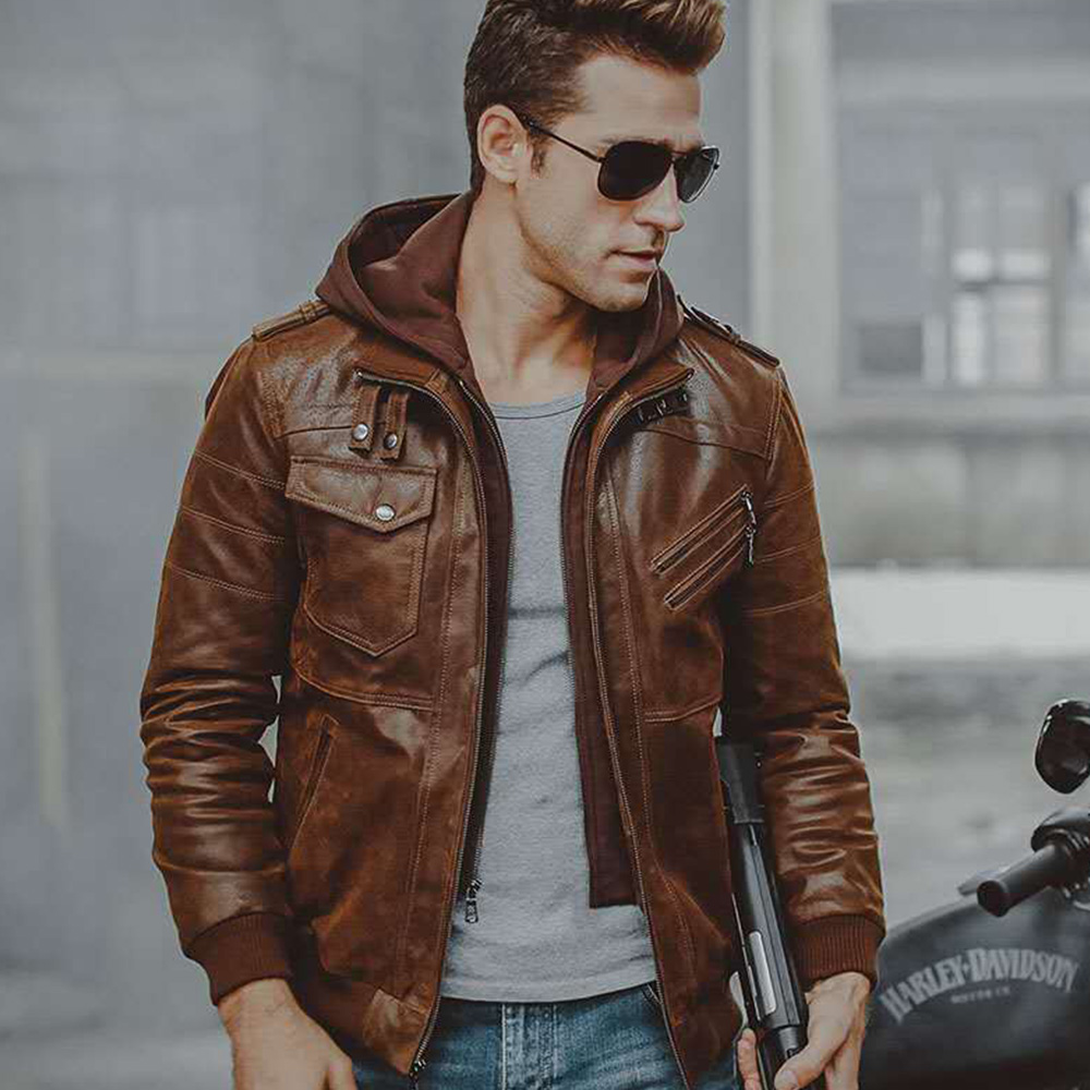 Mens Real Leather Jacket Men Motorcycle Removable Hood Winter Coat Men Fashion Warm Genuine Leather Jackets Mens Leather Jacket