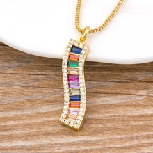 New Trendy CZ Rainbow Necklace Woman Long Chain Zirconia Necklace Natural Stone Jewelry Collar Gold Pendant Necklace For Women(China)