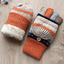 Zimowe rękawiczki damskie rękawiczki cieplejsze rękawiczki bez palców wełna Plus aksamitne pogrubienie ciepłe rękawiczki z odsłoniętym palcem zimowe damskie rękawiczki tanie tanio KLDYA Kobiety Koral polar Dla dorosłych Geometryczne Nadgarstek Moda yzlh03