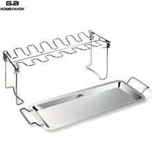 G.a HOMEFAVOR BBQ Chicken Leg Wing Grill Cooking Rack 14 Slots BBQ Poultry Chicken Leg Roaster Stainless Steel Chicken Wing Rack