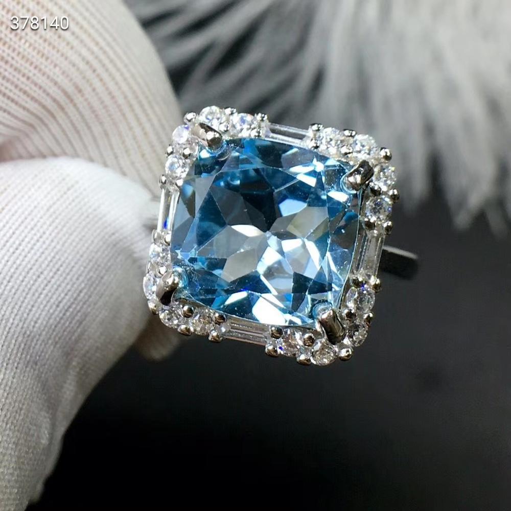Certificat naturel topaze bleue pierre gemme femmes hommes à facettes réglable anneau Cube perle transparente 10x10mm pierre de guérison AAAAA