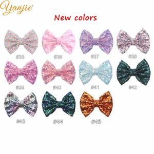 """Image 3 - DHL 300pcs/lot 5"""" Sequin Bow Girls Solid Glitter Knot Hair Bow For Kids 2020 DIY Hair Bow Headband Girls Hair Accessories"""