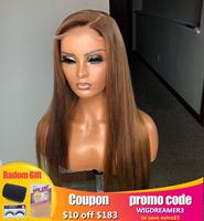 Wicca 13x4 Lace Front wig #6 99J #4/27 Color Ombre Human Hair Wigs Pre Plucked Brazilian Remy With Baby Hair Straight Wigs
