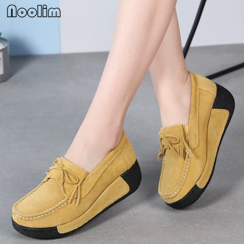 Summer Flat Shoes Women Platform Shoes Ladies Flats Genuine Leather Tassel Slip On Loafers Soft Bottom Hollow Casual Shoes
