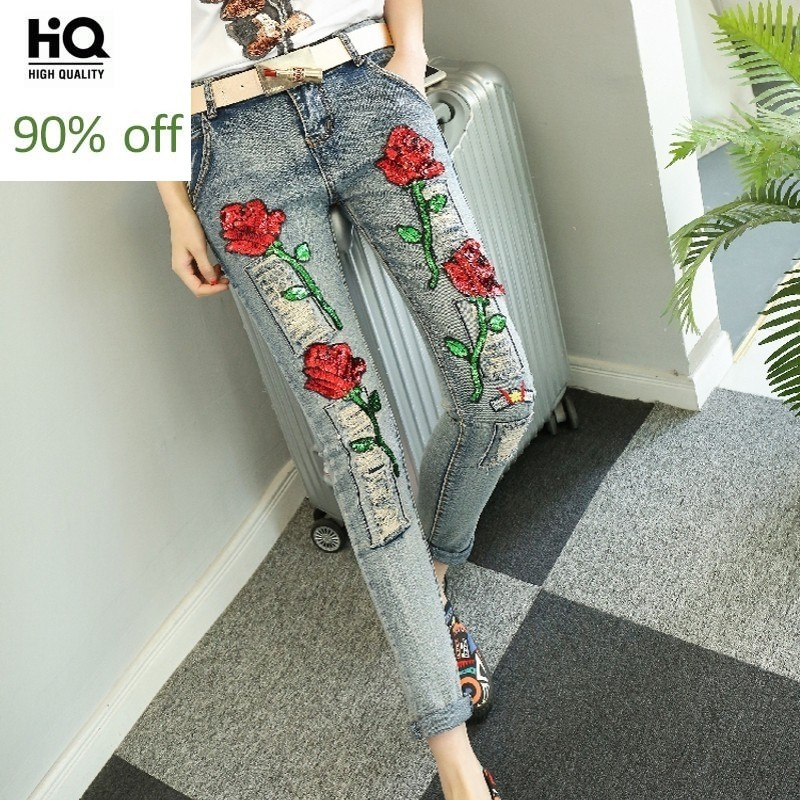 Autumn Winter New Hot Sale Sequins Fashion Floral Embellished Jeans Personalized Ripped Casual Scratches Womens Denim Pants