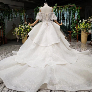 Image 2 - HTL980 vestido de noiva 2020 princess wedding dresses puff sleeve beads crystal china bridal dresses in turkey robe de mariee