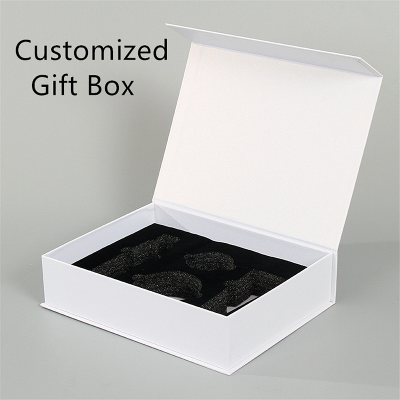Personalized White Paper Boxes Hotfoil Logo  Wedding Gift Box With Sponge Inset Magnet Rigid Boxes Cutomized